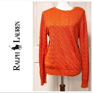 RALPH LAUREN ORANGE CABLE KNIT CREW NECK SWEATER